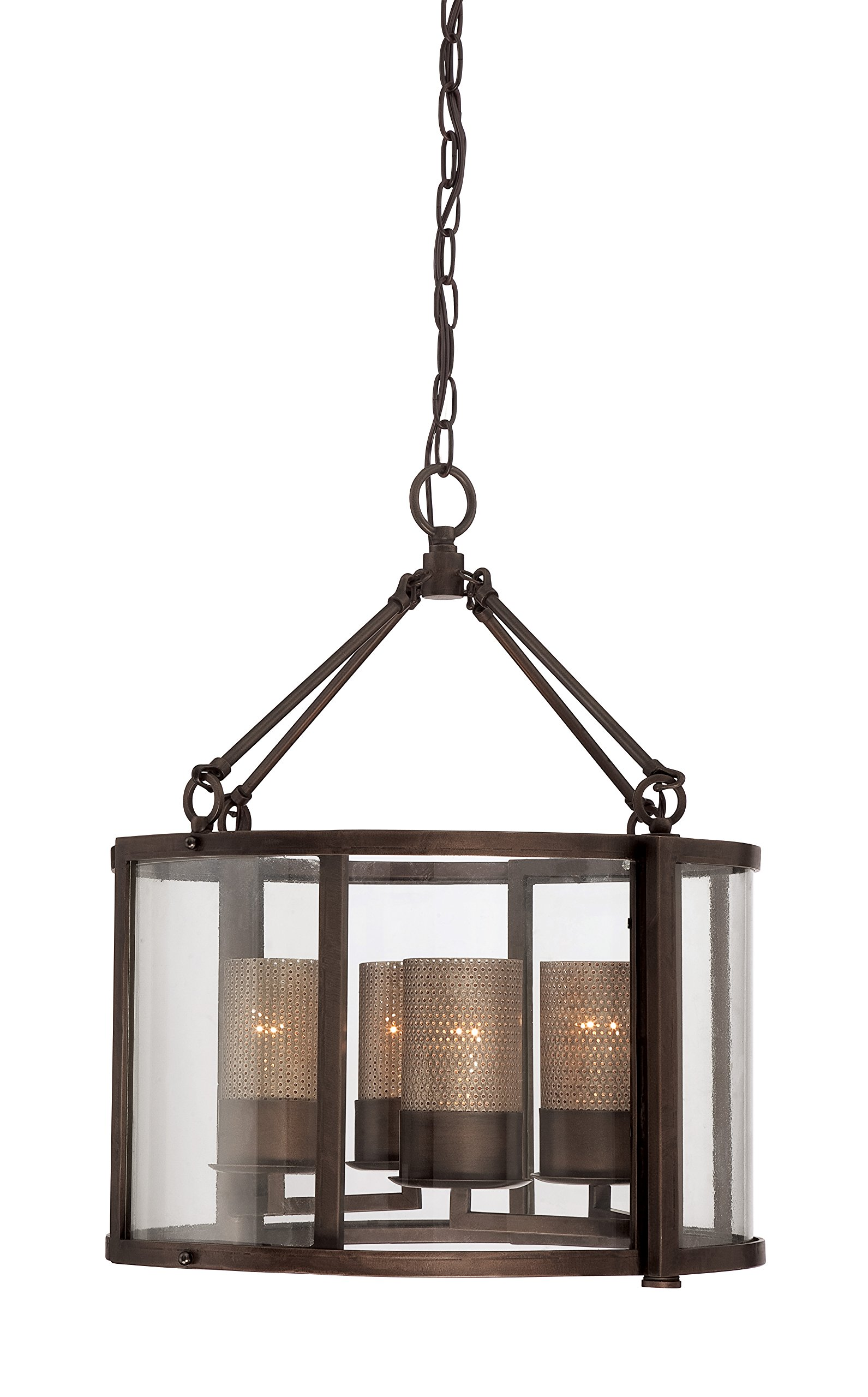 Jackson 4-Light Chandelier - Rustic Bronze Finish with Recycled Arched Window Pane Glass Shade