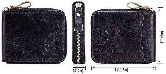 Amazon.com: Billetera de cuero genuino con cierre RFID con ...