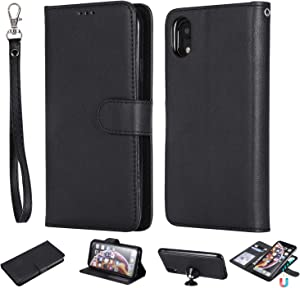 Wallet Case for iPhone XR, Detachable 2 in 1 Wallet Case with Card Holder, Luxury PU Leather Phone Case, Magnetic Folio Case with Wrist Strap, Kickstand, Flip Cover for iPhone XR 6.1 Inch (Black)