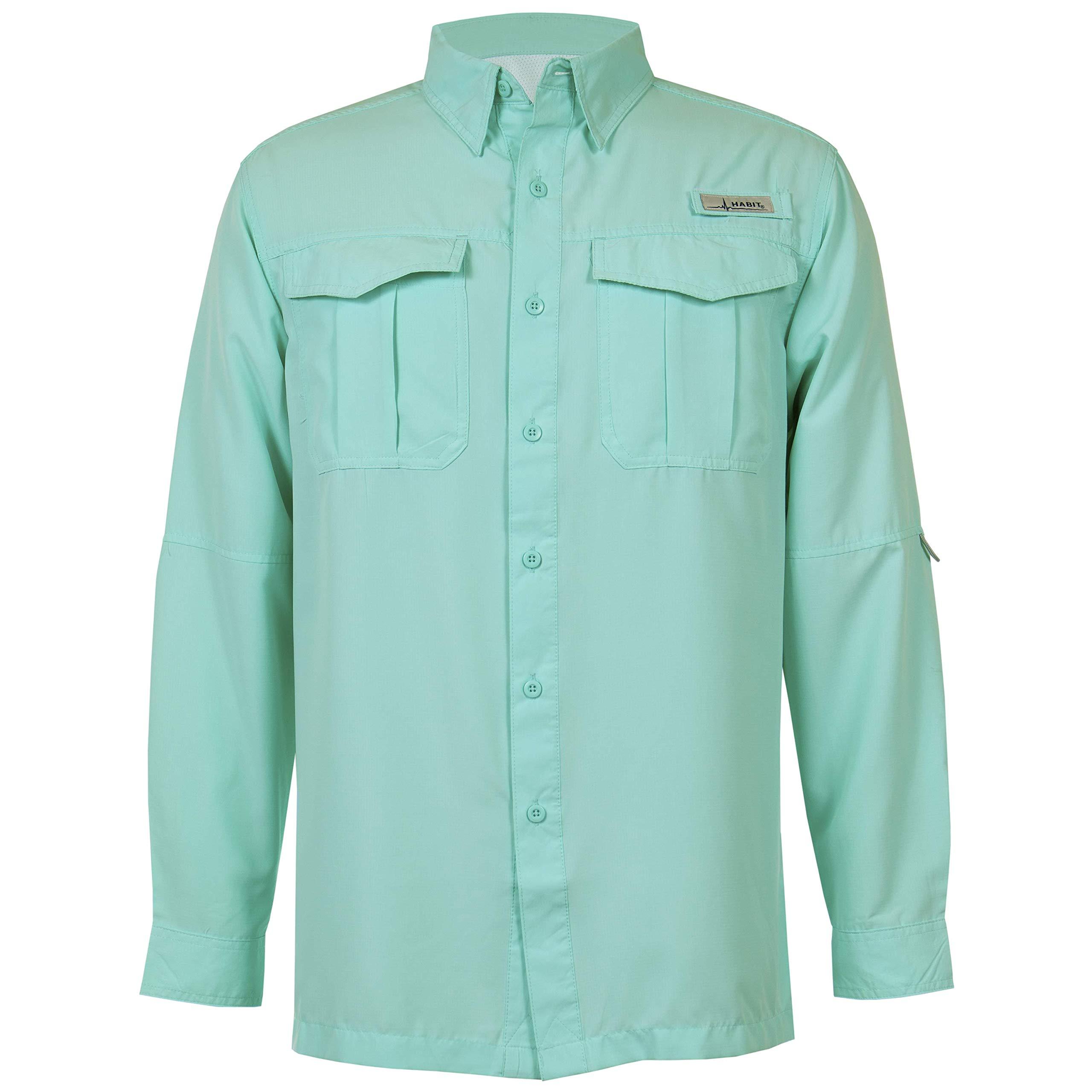 HABIT Men's Belcoast Long Sleeve River Guide Fishing Shirt, Aruba Blue, 2X-Large