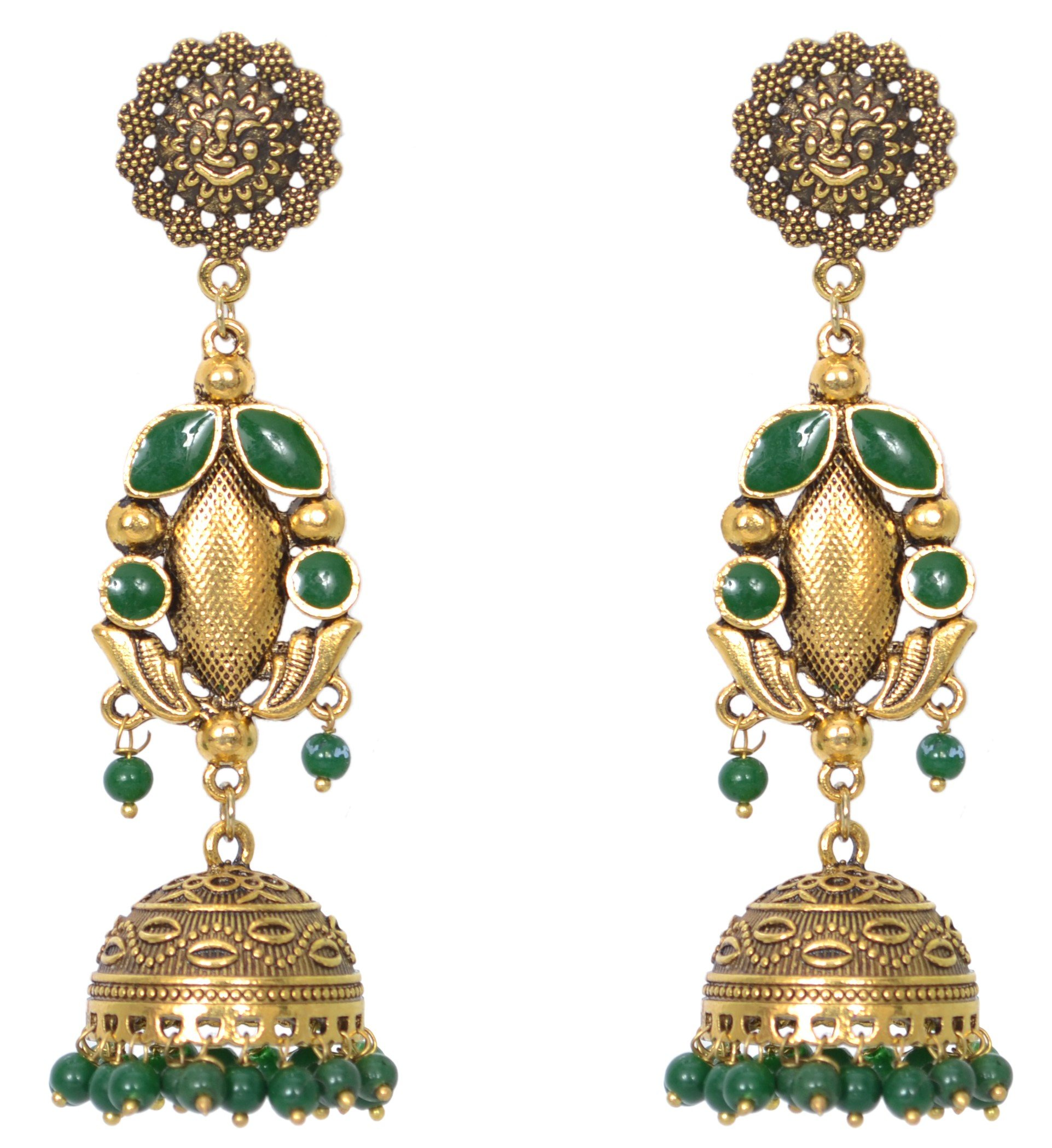 Sansar India Oxidized Stud Long Jhumka Indian Earrings Jewelry for Girls and Women 1189