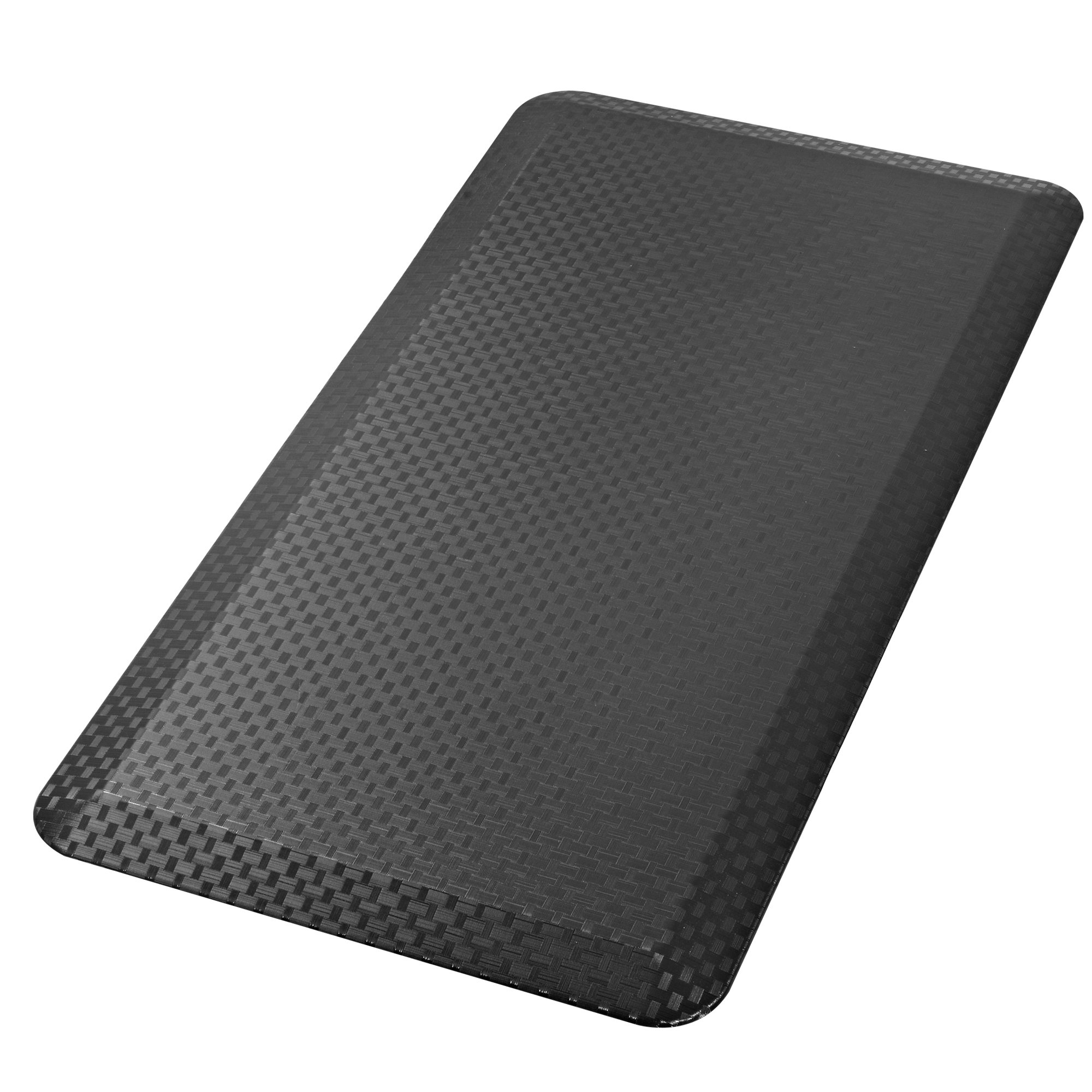 Cook N Home Anti-Fatigue Comfort Mat, 39 x 20'', Faux Woven, Black, 3/4'' Thickness