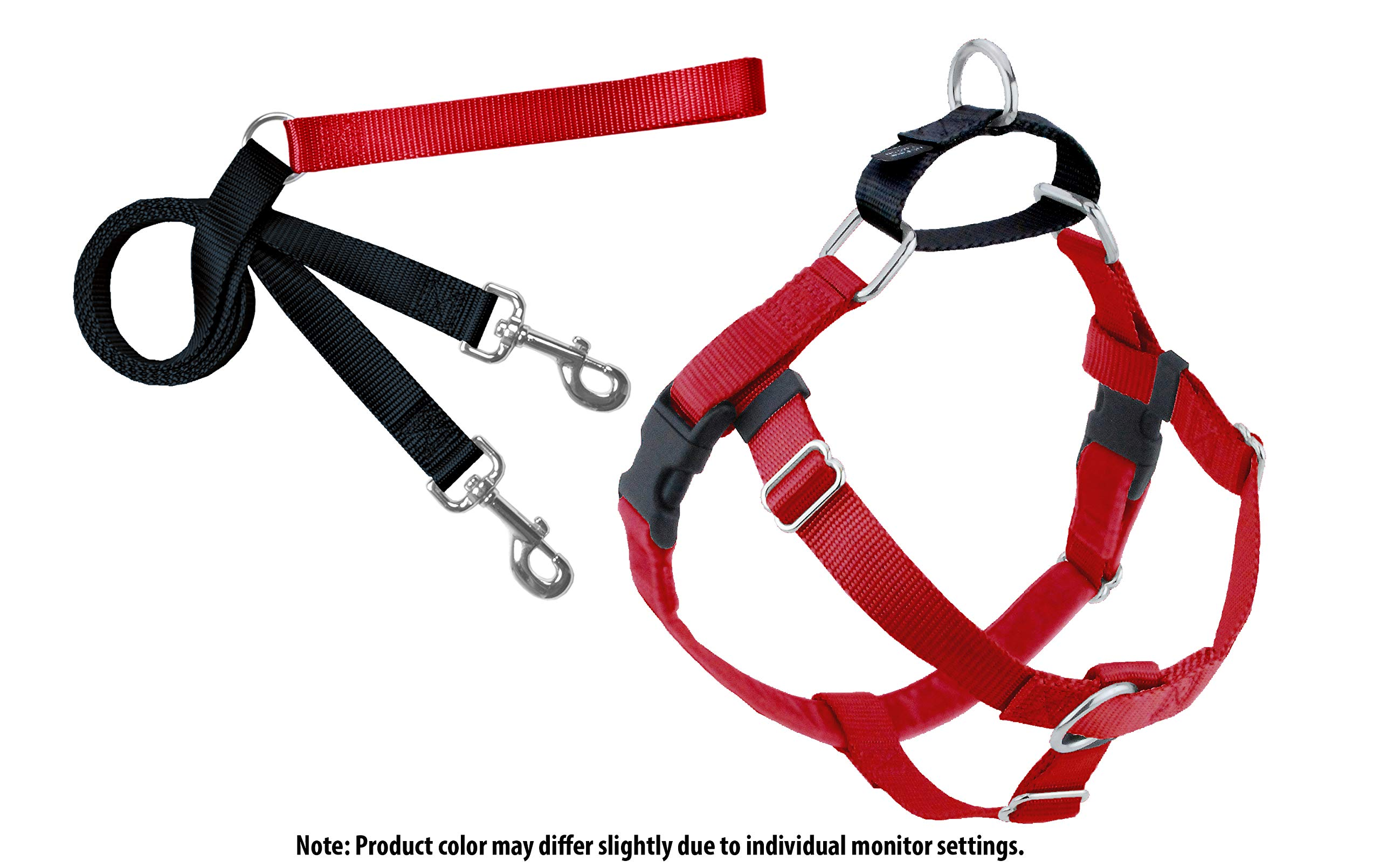 2 Hounds Design Freedom No-Pull Dog Harness and Leash, Adjustable Comfortable Control for Dog Walking, Made in USA (Small 5/8'') (Red)