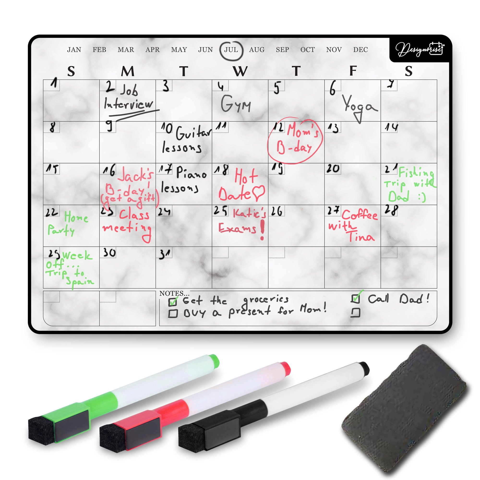Designorize Marble Dry Erase Magnetic Calendar for Refrigerator with Markers and Eraser (5-Piece Set) Daily, Weekly, Monthly Organizer | Stain Resistant Surface | Home and Office Organization