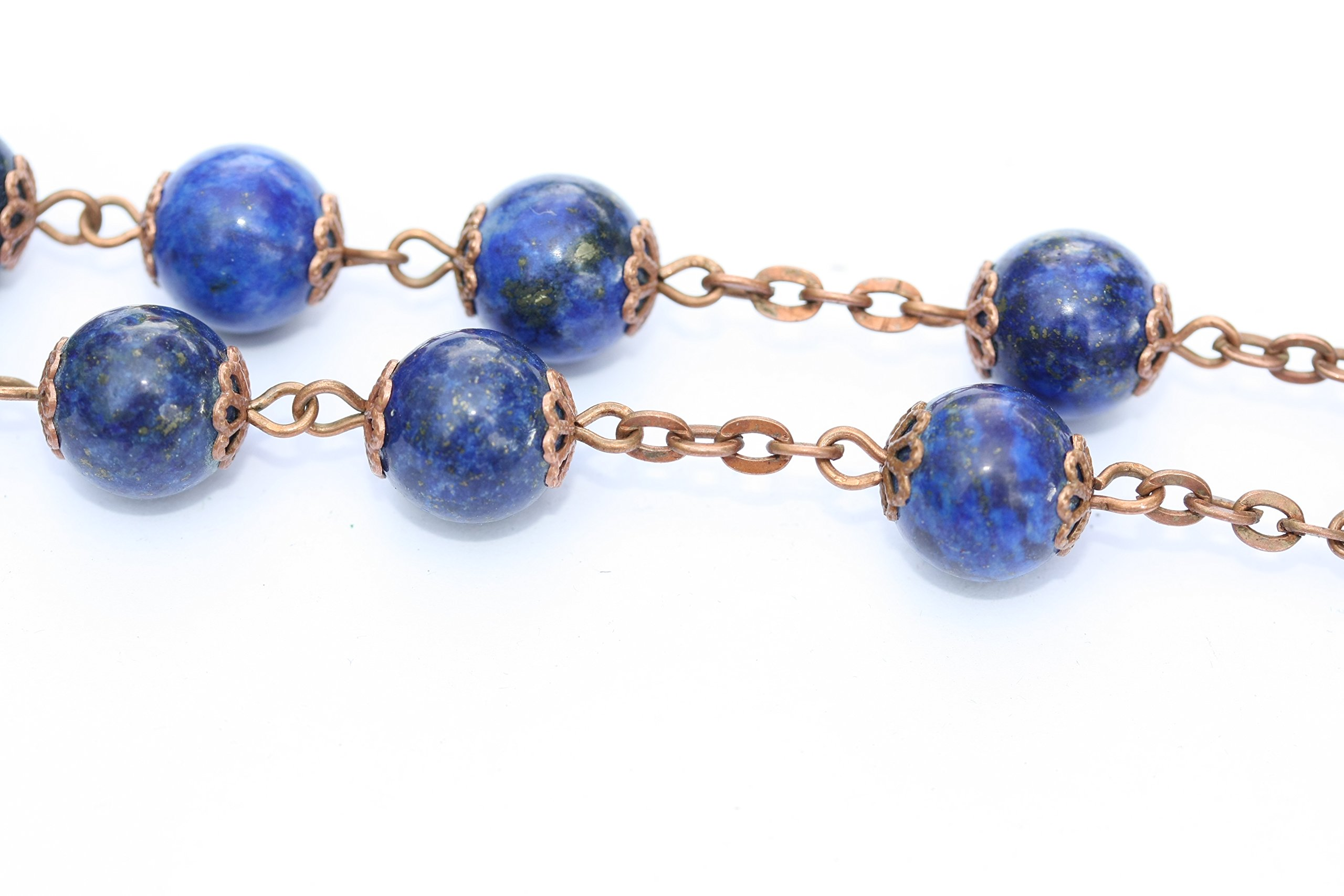 Large Genuine Lapis and Copper 10mm 5 Decade Natural Stone Bead Rosary Made in Oklahoma by Oklahoma Rosaries (Image #5)
