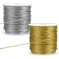 LIHAO 2 rollen metallic koord zilveren draad gouden koord ambachtelijke koord voor cadeaupapier decoratie kunsthandwerk…