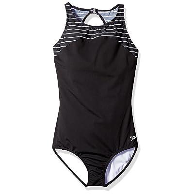 Speedo Women's Endurance+ Stripe High Neck One Piece Swimsuit