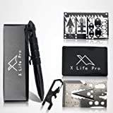 XLifePro Tactical Pen with Gift Box, Survival Cards and Multi-Tool EDC Keychain, Axe Multitool, Fishing and Snare Credit…