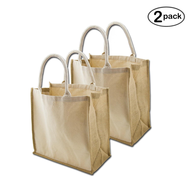 シンプルなEcology有機キャンバス&ジュート再利用可能なXラージトート& Grocery Bag B01MRWFSJ7 Natural/Jute2 Pack Natural/Jute2 Pack