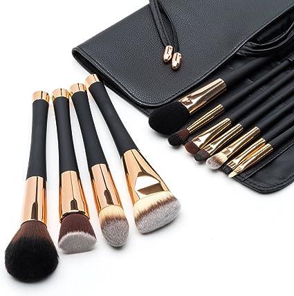 Fancii Set de Brochas de Maquillaje Profesional, Set de 11 Pinceles de Gama Alta, Cerdas Sintéticas