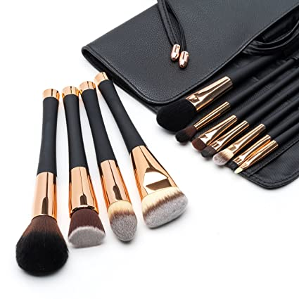 Fancii Set de Brochas de Maquillaje Profesional, Set de 11 Pinceles de Gama Alta, Cerdas Sintéticas sin Crueldad para Difuminar Base y Sombra de Ojos, ...