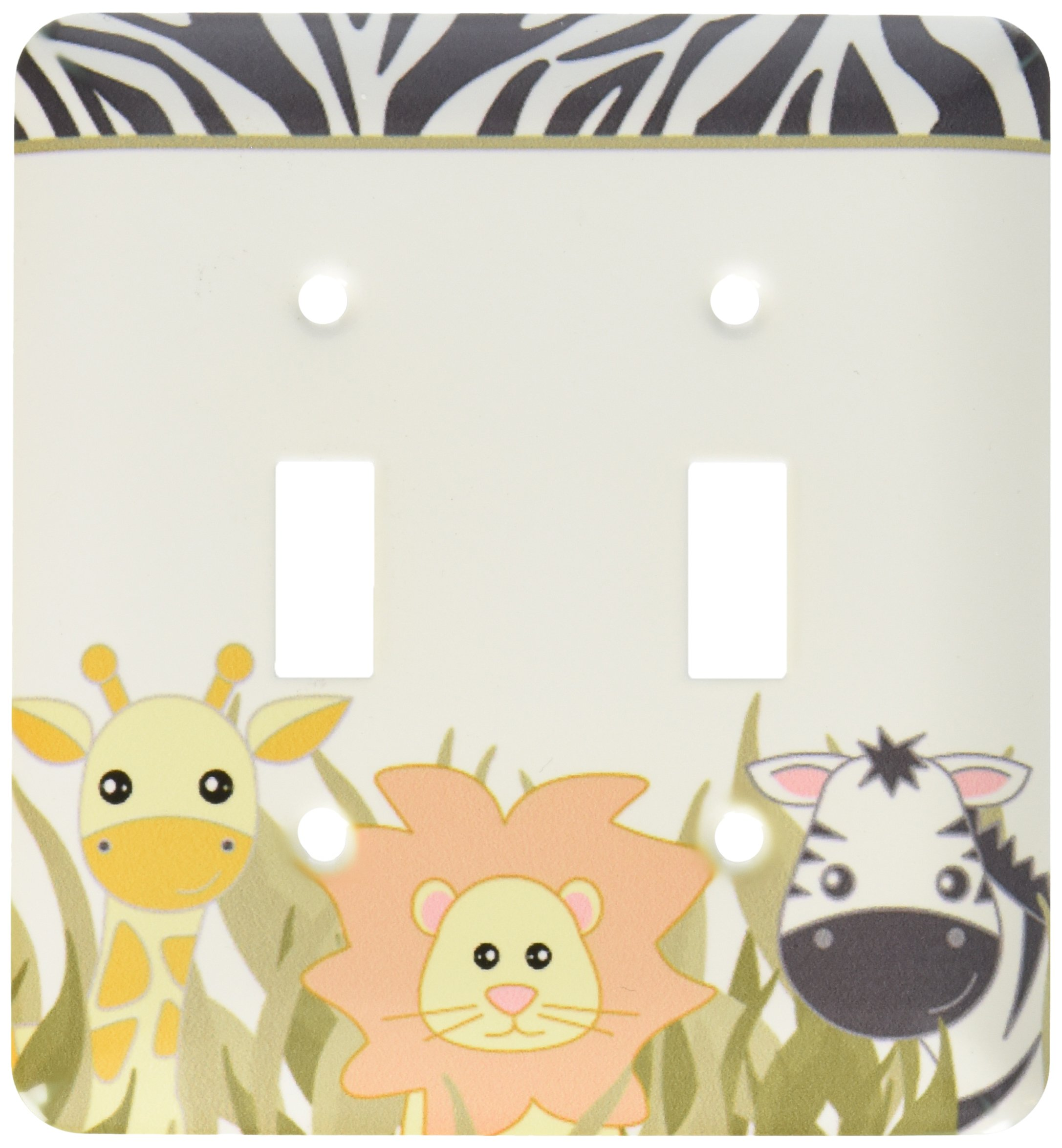 3dRose LLC lsp_128530_2 Cute Baby Jungle Animals On White Giraffe Lion Zebra Double Toggle Switch