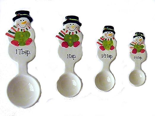 Holiday Snowman Measuring spoon teaspoon ornament hand-painted