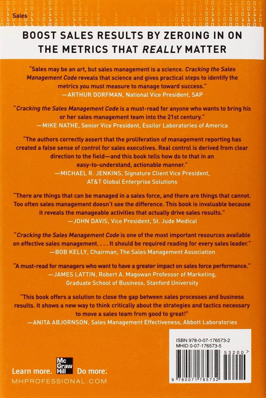 Cracking the sales management code the secrets to measuring and the sales management code the secrets to measuring and managing sales performance jason jordan michelle vazzana 9780071765732 amazon books fandeluxe Gallery