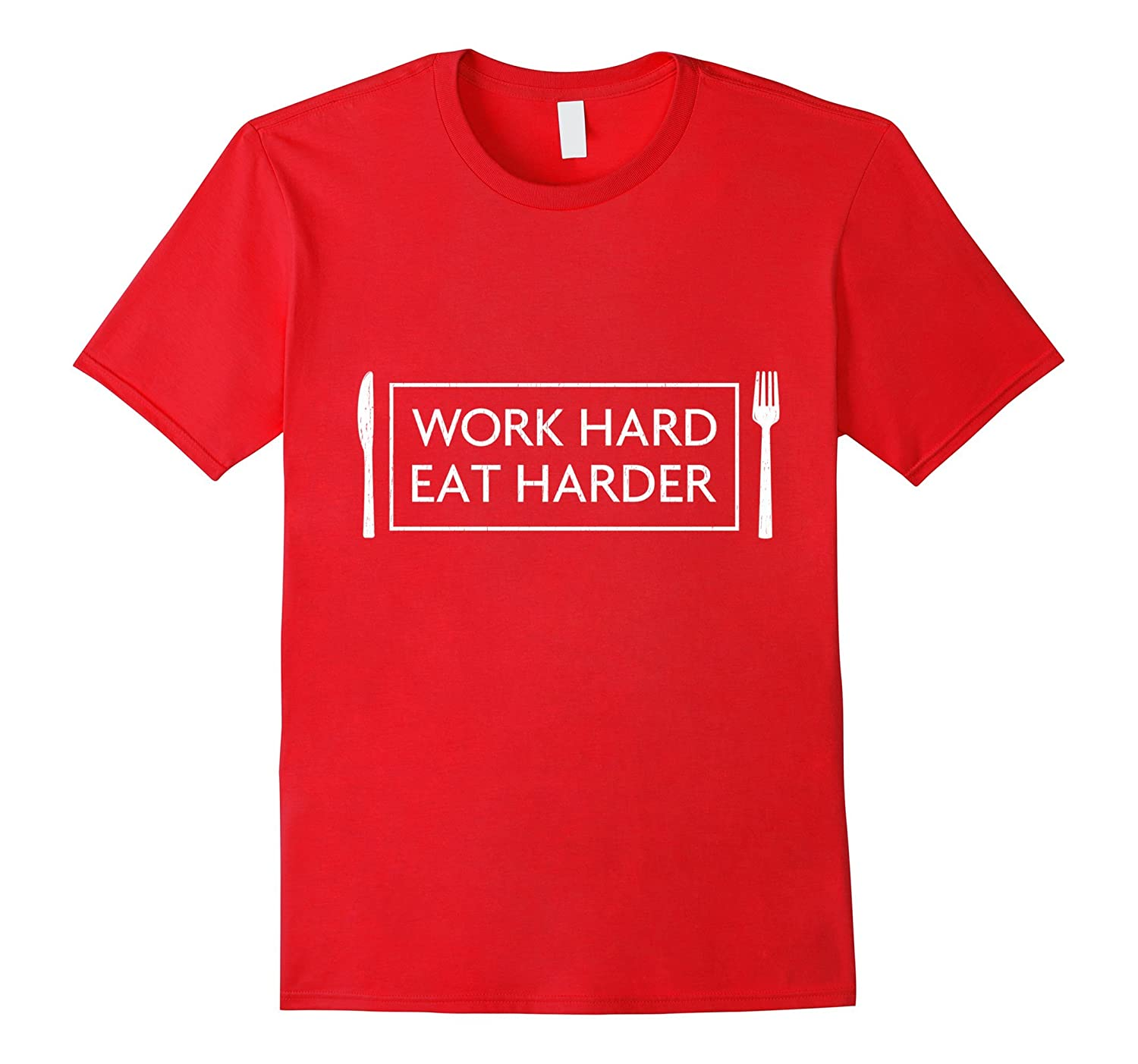 Work Hard Eat Harder Tee Shirt White Marble Text-TH