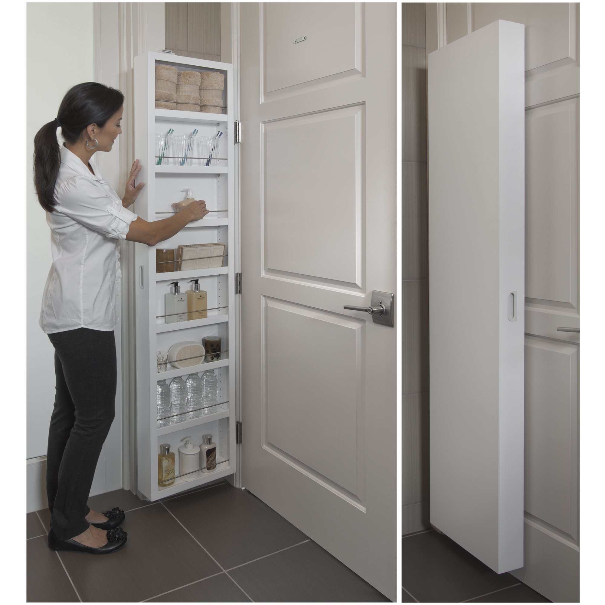 Behind The Door Concealed Storage Cabinet, 8 Shelves, Adjustable and Customizable Design, Bathroom Furniture, Innovative Space-Saving Solution, Medicine Cabinet, Easy to Assemble by GAShop