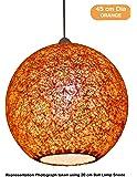 Salebrations 45 cm Dia Orange Hanging Ball Lamp Shade with Yarn and Led Bulb