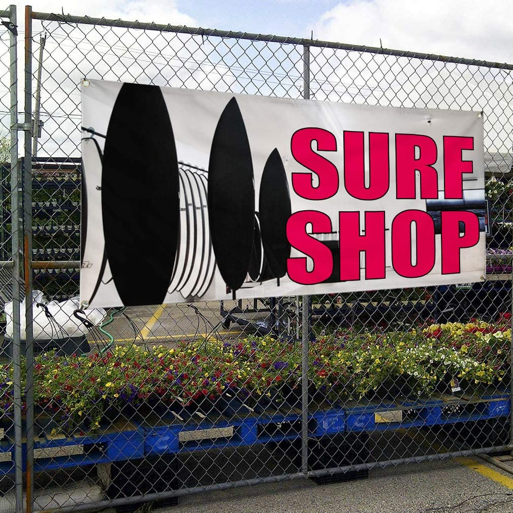 Vinyl Banner Multiple Sizes Surf Shop C Outdoor Advertising Printing Business Outdoor Weatherproof Industrial Yard Signs 10 Grommets 60x144Inches