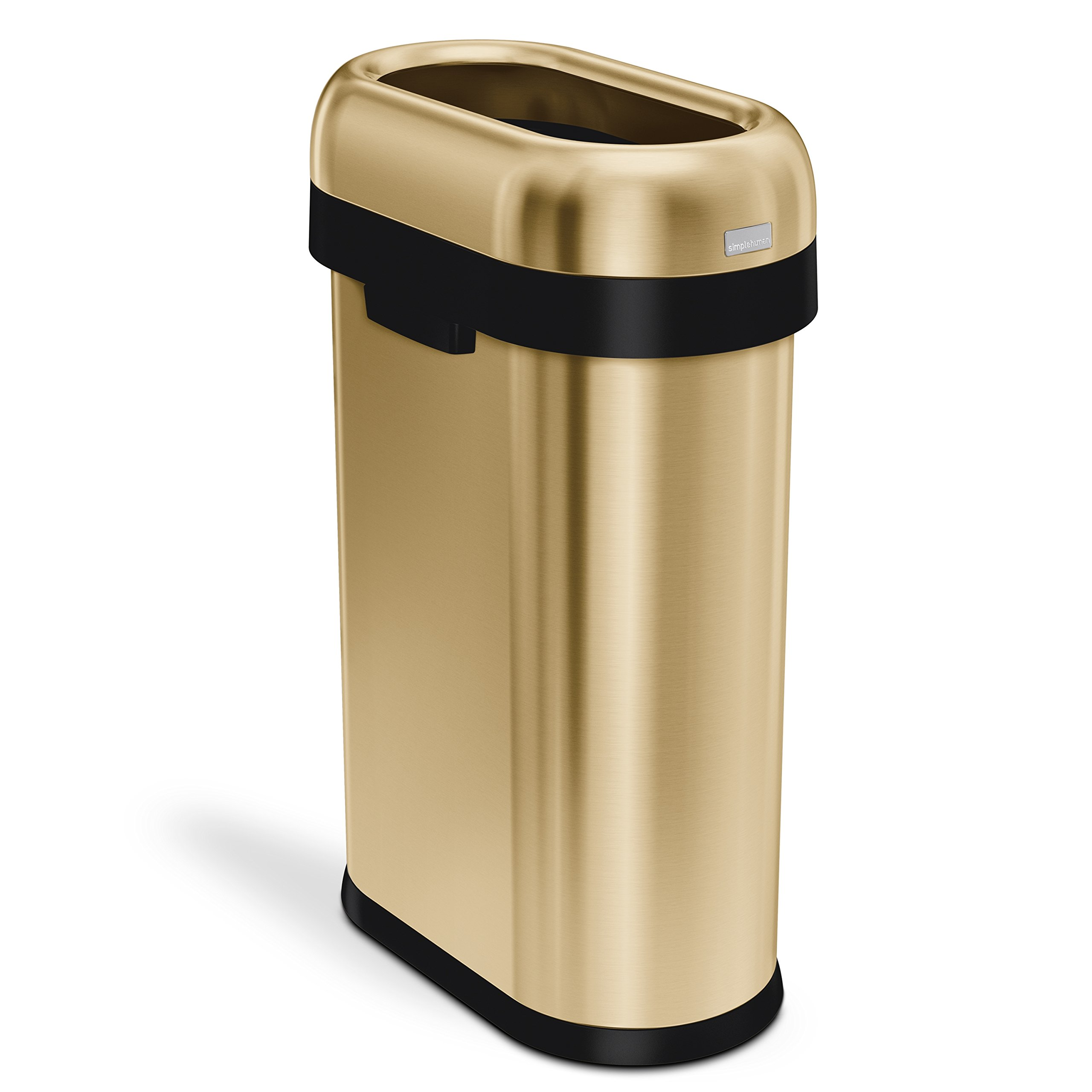 simplehuman 50 Liter / 13.2 Gallon Commercial Heavy-Gauge Stainless Steel Slim Open Trash Can, Brass Stainless Steel, ADA-Compliant