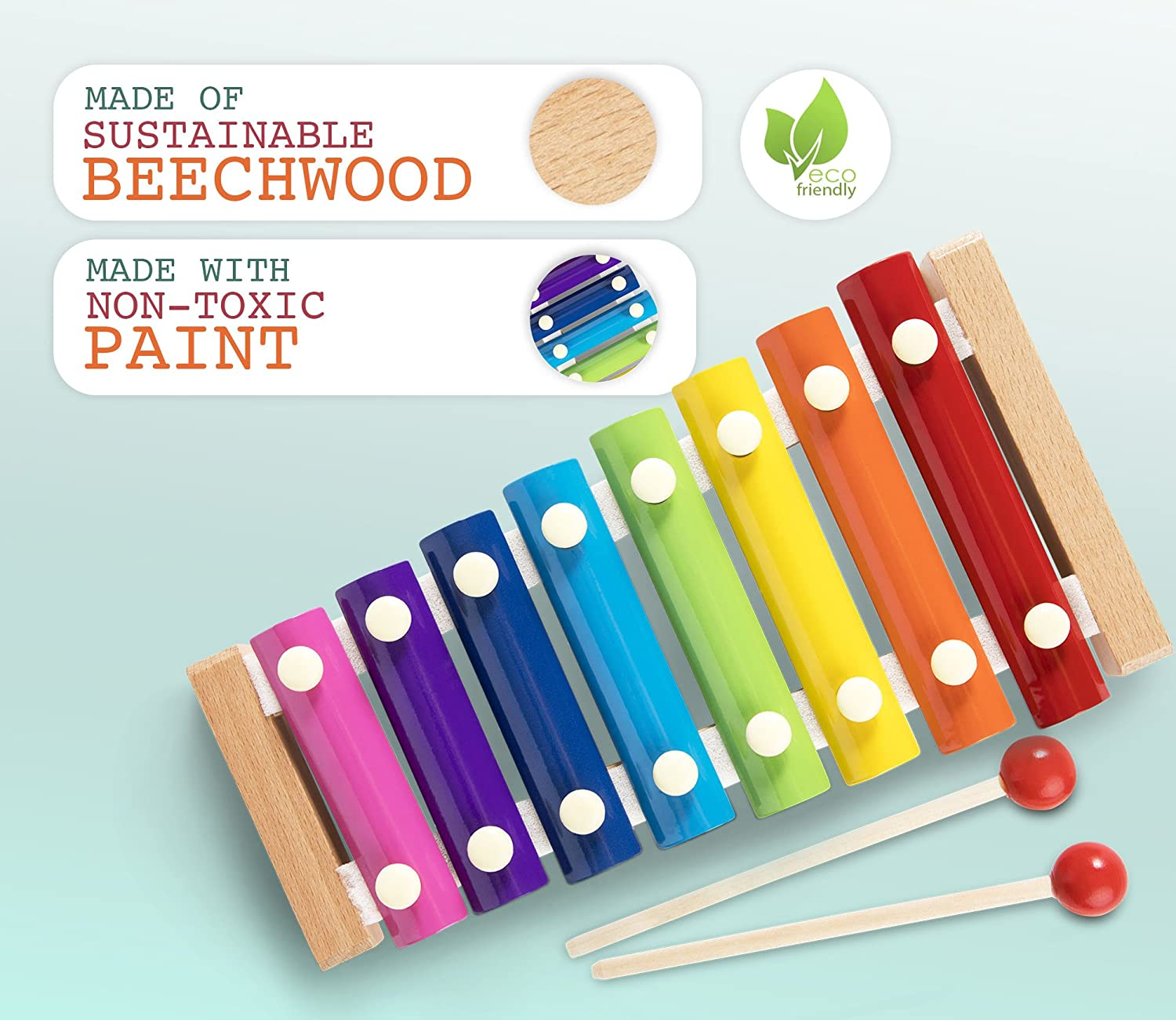 Beechwood Xylophones with Wooden Mallets  Musical Instrument Toys for Childhood Learning and Development Toddler and Kids Xylophone Kinderjazz Rainbow Colored Baby Non Toxic