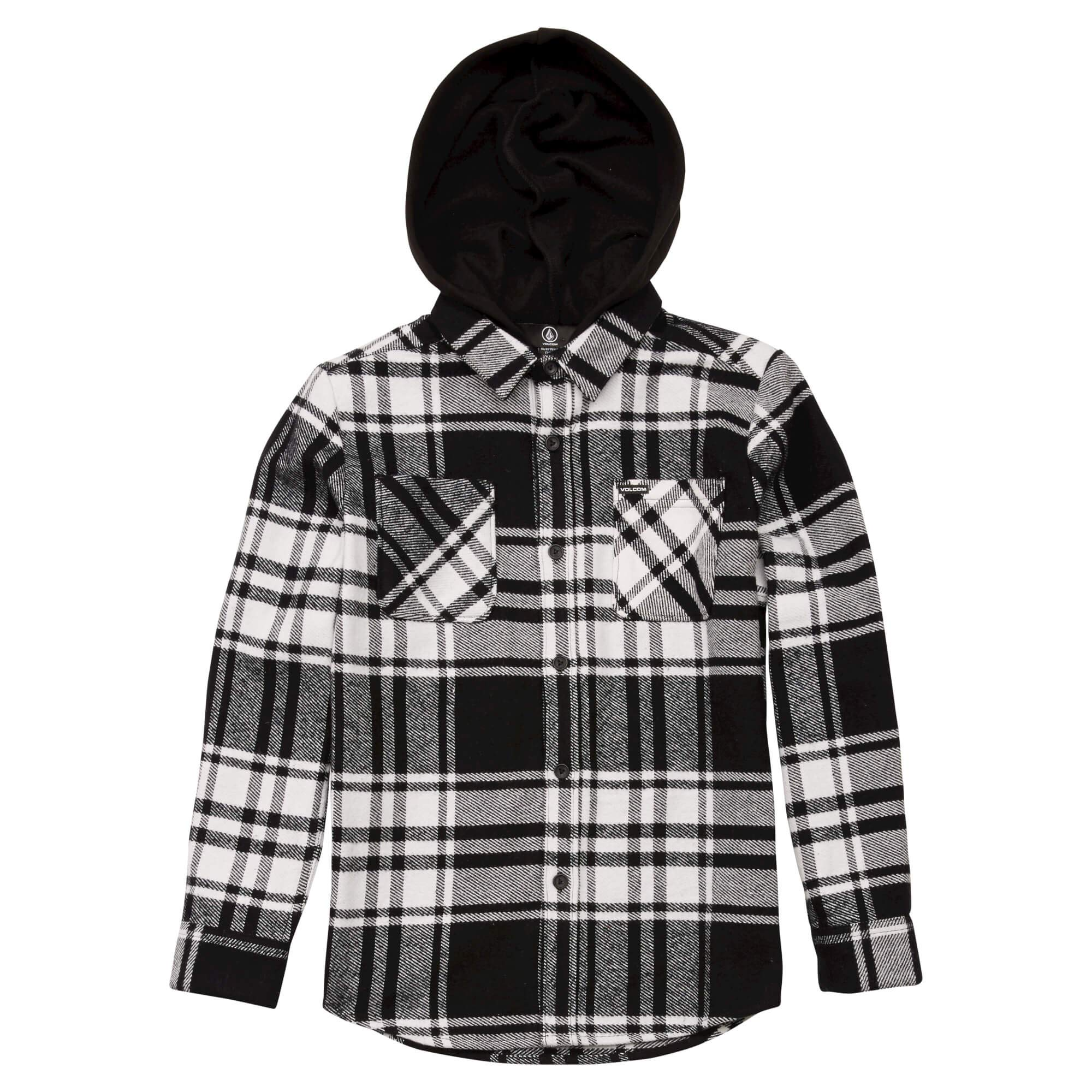 Volcom Boys' Big Shader Hooded Long Sleeve Flannel Shirt, White, Large