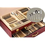 """75-Piece Gold Flatware Set Dining Service for 12, 18/10 Premium Stainless Steel, 24K Gold-Plated Trim, Silverware Serving Set, Wood Storage Case (""""Majestic"""")"""