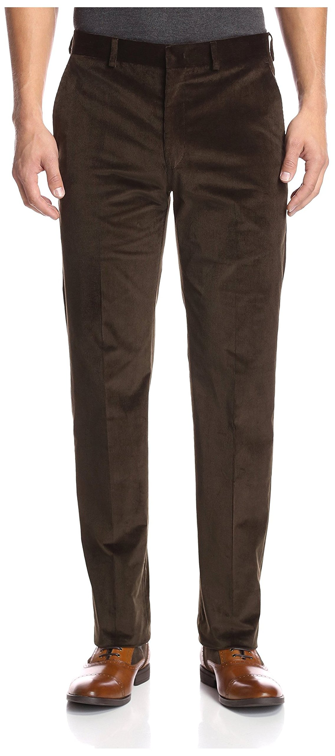 Franklin Tailored Men's Flat Front Corduroy Tyler Trouser, Olive, 34 US