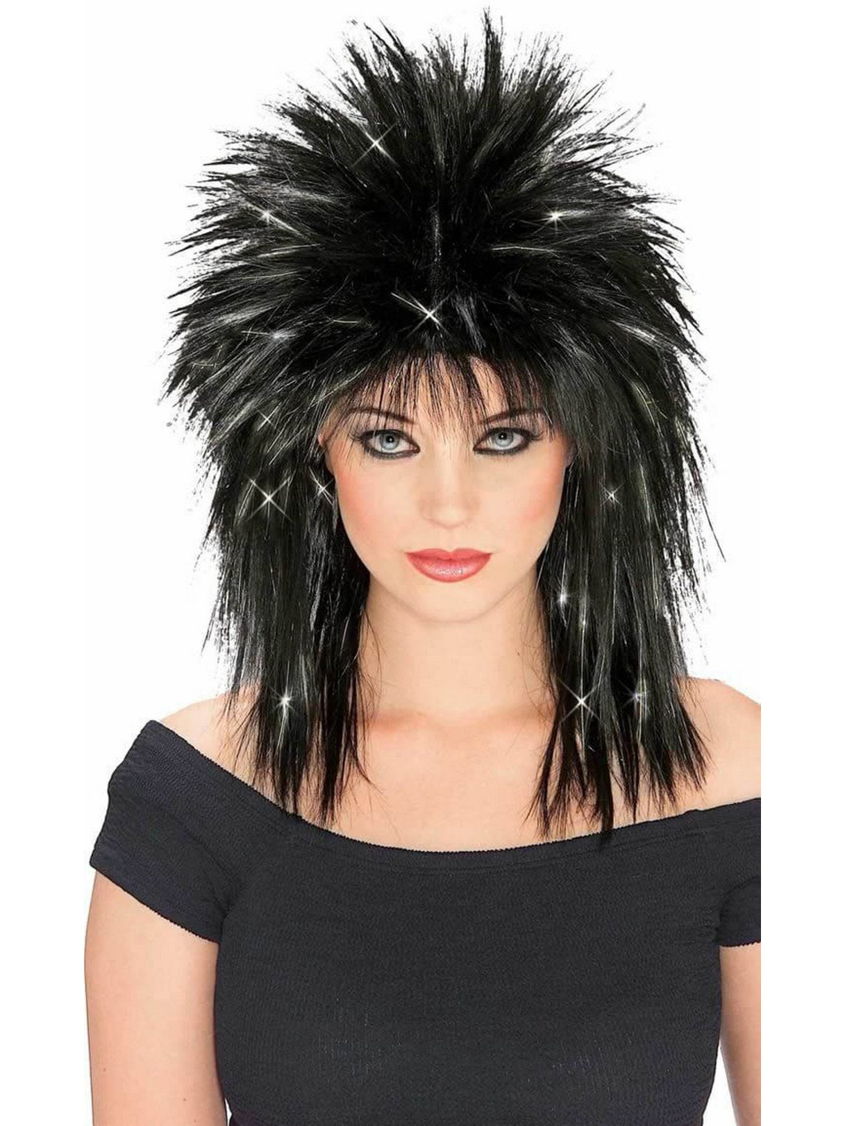 Rubie's Rockin Diva Wig with Tinsel, Black/Silver, One Size by Rubie's (Image #1)