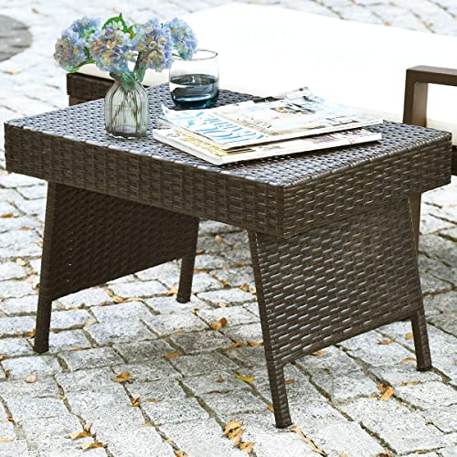 GOFLAME Wicker Table Patio Outdoor Poolside Garden Lawn Bistro Foldable Portable Leisure Standing Coffee Side Table