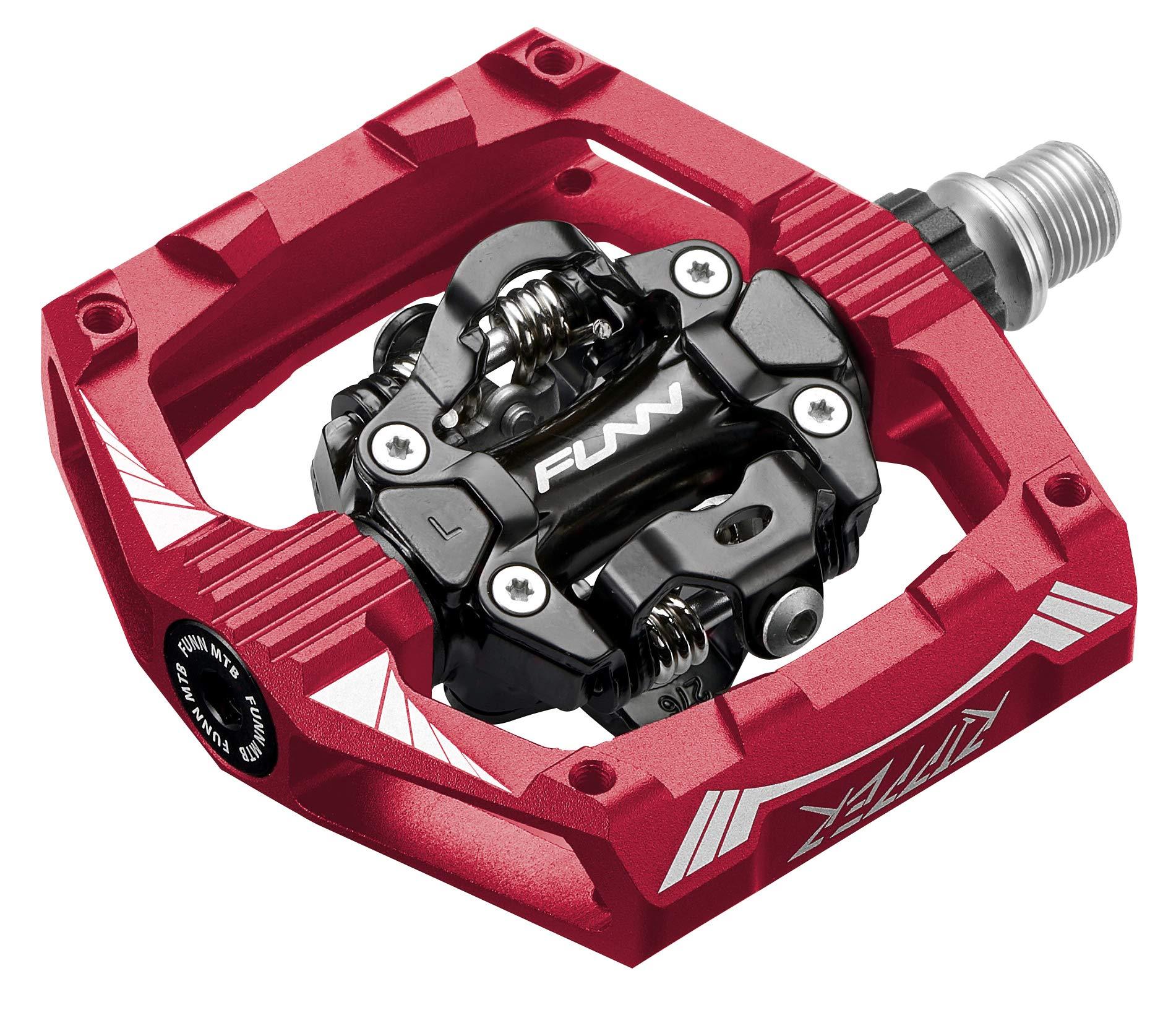 Funn Ripper Clipless Pedal Set, Rocker Clip Mechanism, SPD Compatible (Red)