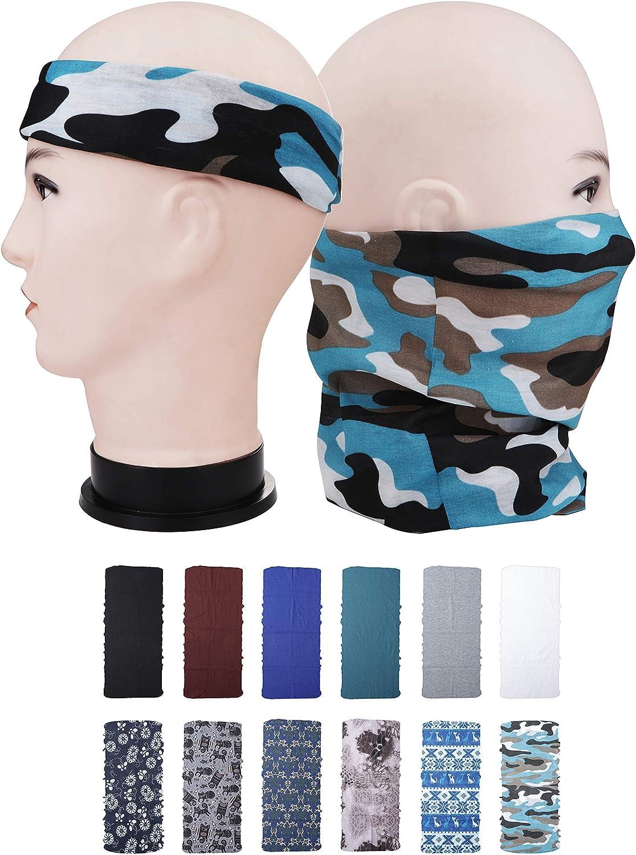 Milacolato 12Pcs Headwear,Multifunctional Head Scarf,Face Shield,Face Bandana Mask,Neck Gaiter Balaclava with UV Resistance,Athletic Headwrap,Tube Mask,Face Bandana Mask,for Fishing,Motorcycling