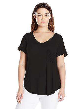 67c0cb6c661 Paper Tee Women s Plus Size V Neck One Pocket Tee at Amazon Women s ...