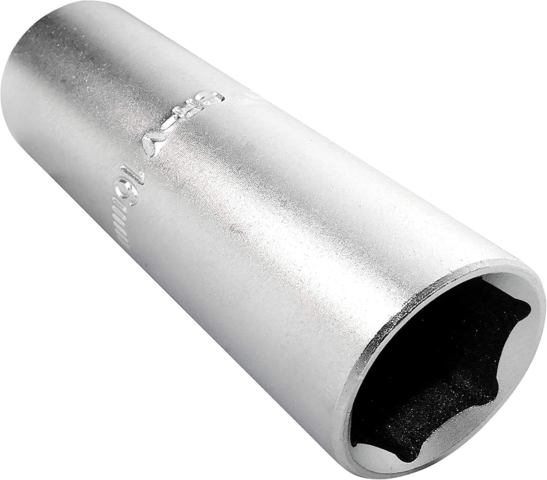 AERZETIX - Vaso para bujía de encendido - Profundo/extendido/largo - 1/2x16mm - para atornillar/trinquete manual/neumático - Cuerpo cilíndrico - Hexagonal/6 lados Allen - acero CR-V - Plata - C45176