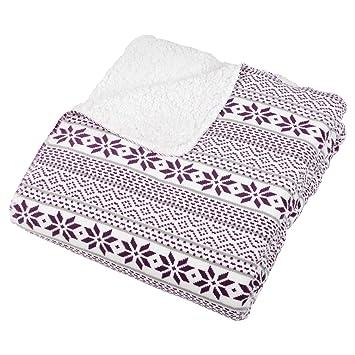 White / Purple Fairisle Fleece Blanket Soft Sherpa Home Sofa Bed ...