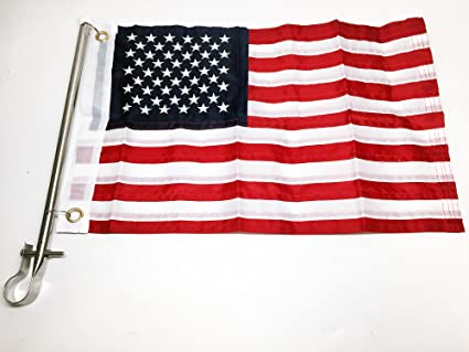 "Taylor Made 24/"" Pontoon Rail Mount Flag Pole and 12 x 18/"" United Sates Flag"