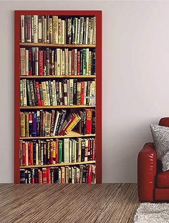 Bücherregal gemalt  Türposter Bücherregal 100x200cm Türfolie Türtapete - selbstklebend ...