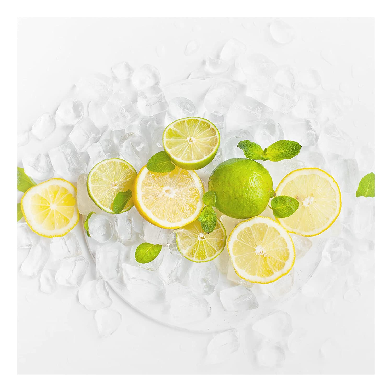 Bilderwelten Glass Splashback - Citrus Fruits On Ice - Square 1:1, Backsplash Cooker Splashback Protector Panel Decorative, Dimension HxW: 59cm x 60cm PPS. Imaging GmbH