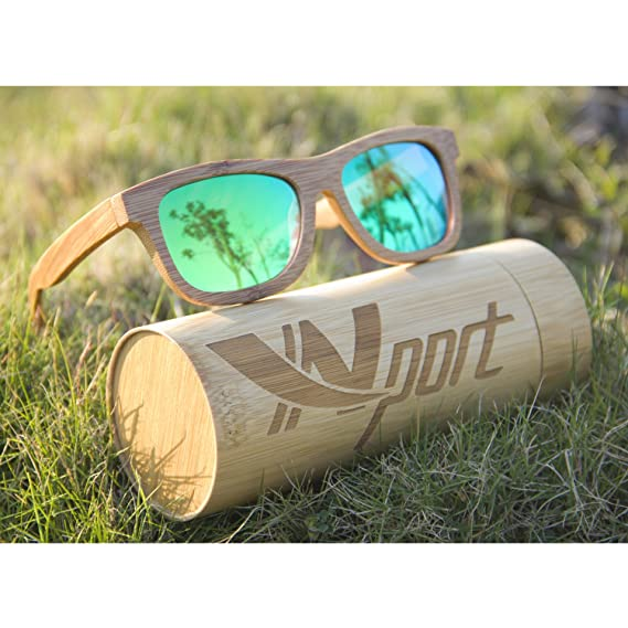 Lunettes de Soleil classique en bambou carbonisé Ynport pour homme/femme monture complète, lunettes vintage, flottantes, polarisées, marron foncé, taille unique