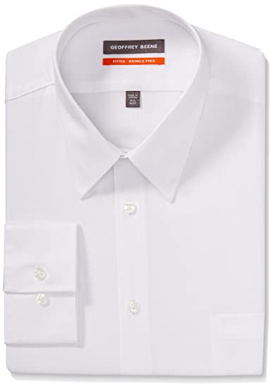 """67d8c597e Geoffrey Beene Men's Micro Chip Sateen Fitted Solid Point Collar Dress Shirt,  White, 16.5"""""""
