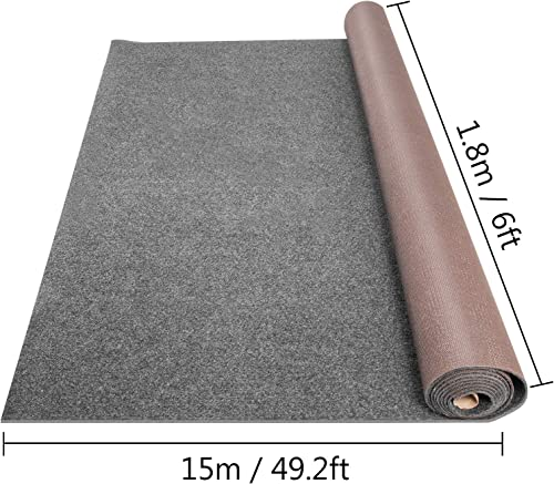Happybuy Grey Marine Carpet 6×49.2 ft Marine Carpeting Marine Grade Carpet for Boats with Waterproof Back Outdoor Rug for Patio Porch Deck Garage Outdoor Area Rug Runner Anti-Slide Porch Rug