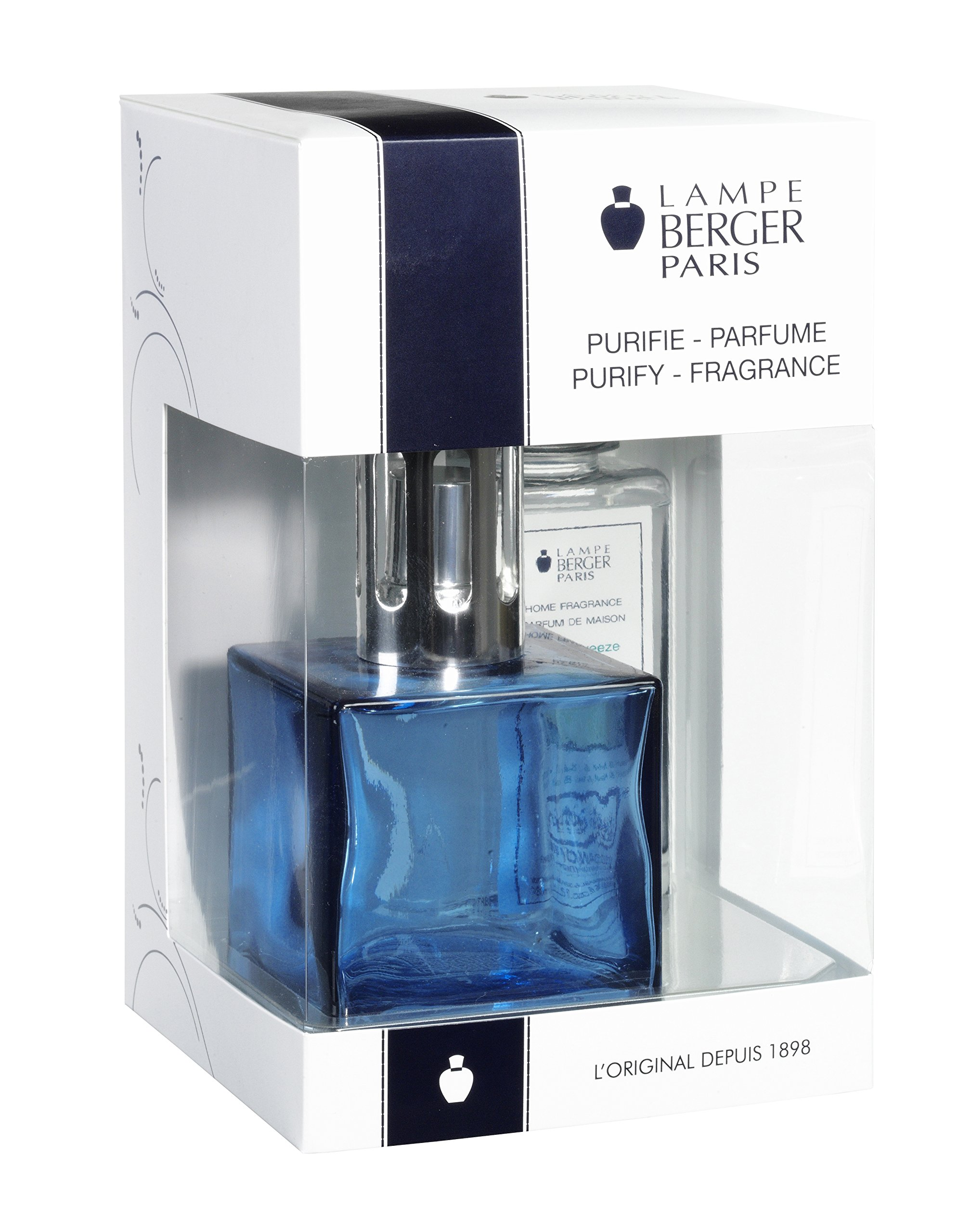 Lampe Berger Giftset Lamp Gift Set-Cube Blue, Includes Fragrance Ocean Breeze 180ml / 6.08 fl.oz by Lampe Berger (Image #1)