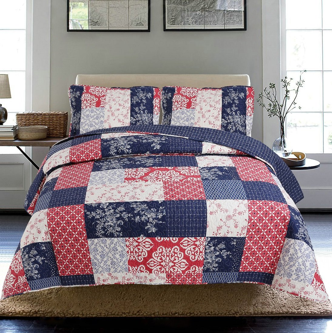 All American Collection New 3pc Printed Modern Floral Patchwork Bedspread Coverlet QUEEN, NAVY/ RED