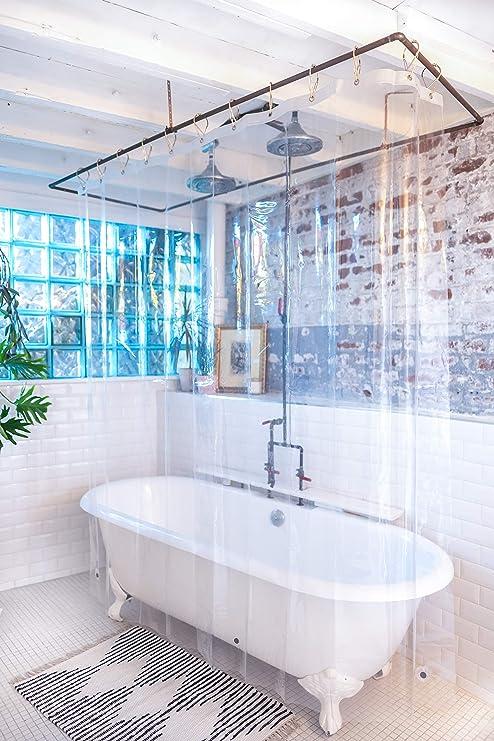 + PEVA cortina de ducha maletero/ 72/x 72 transparente Hechas en Estados Unidos /libre de PVC parte inferior de calibre 9/imanes resistente