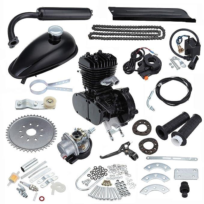Ambiente 50cc 2 tiempos pedal ciclo gasolina gas motor bicicleta conversión kit para bicicleta motorizada negro: Amazon.es: Coche y moto