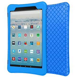 """MoKo Case for All-New Fire HD 10 Tablet (7th Generation/9th Generation, 2017/2019 Release), Shockproof Soft Silicone Back Cover [Kids Friendly] for Fire HD 10.1"""", Blue"""