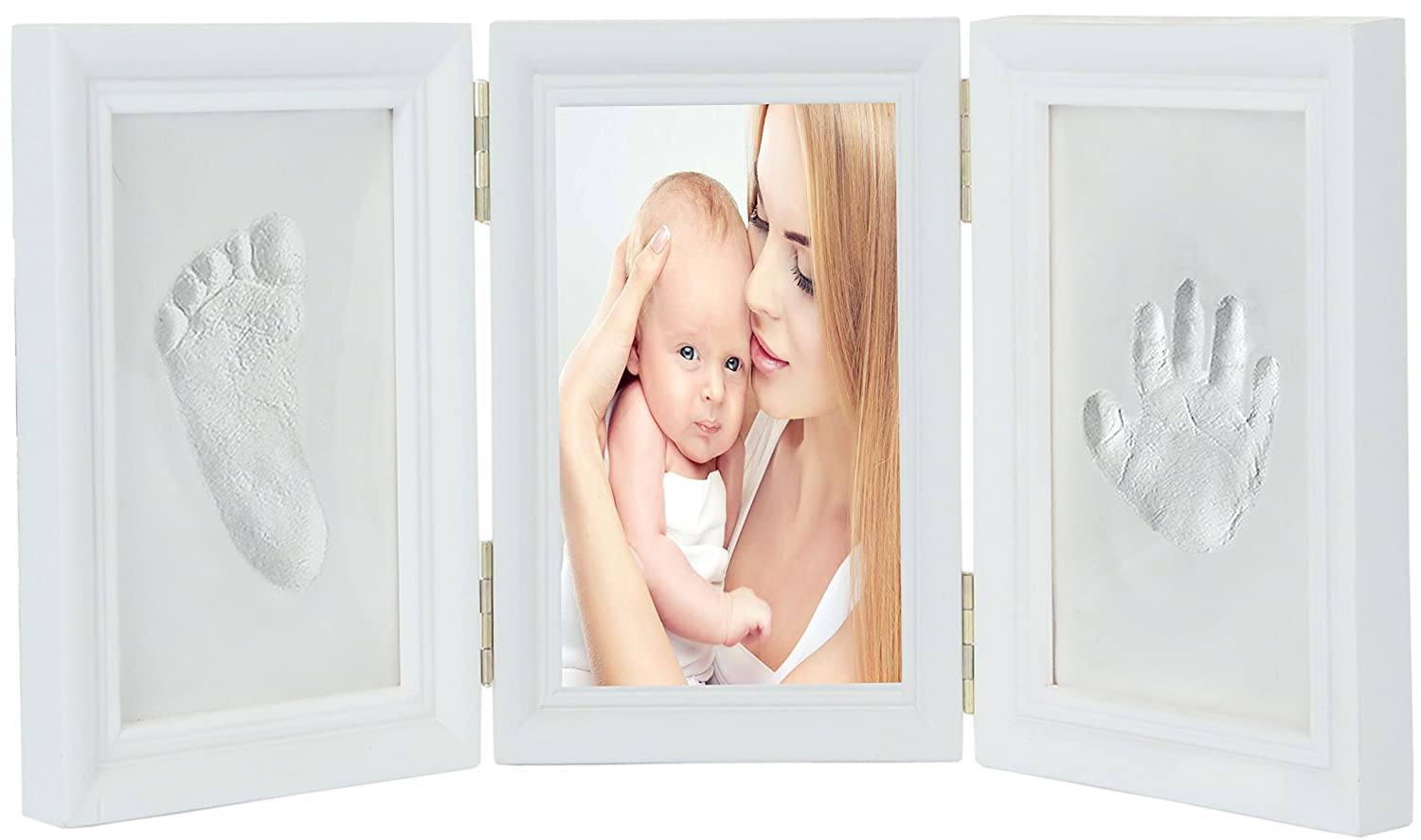 Deceny CB Baby Handprint Kit & Footprint Photo Frame for Newborn Girls and Boys, Unique Baby Shower Gifts Set for Registry, Memorable Keepsake Box Decorations for Room Wall or Nursery Decor