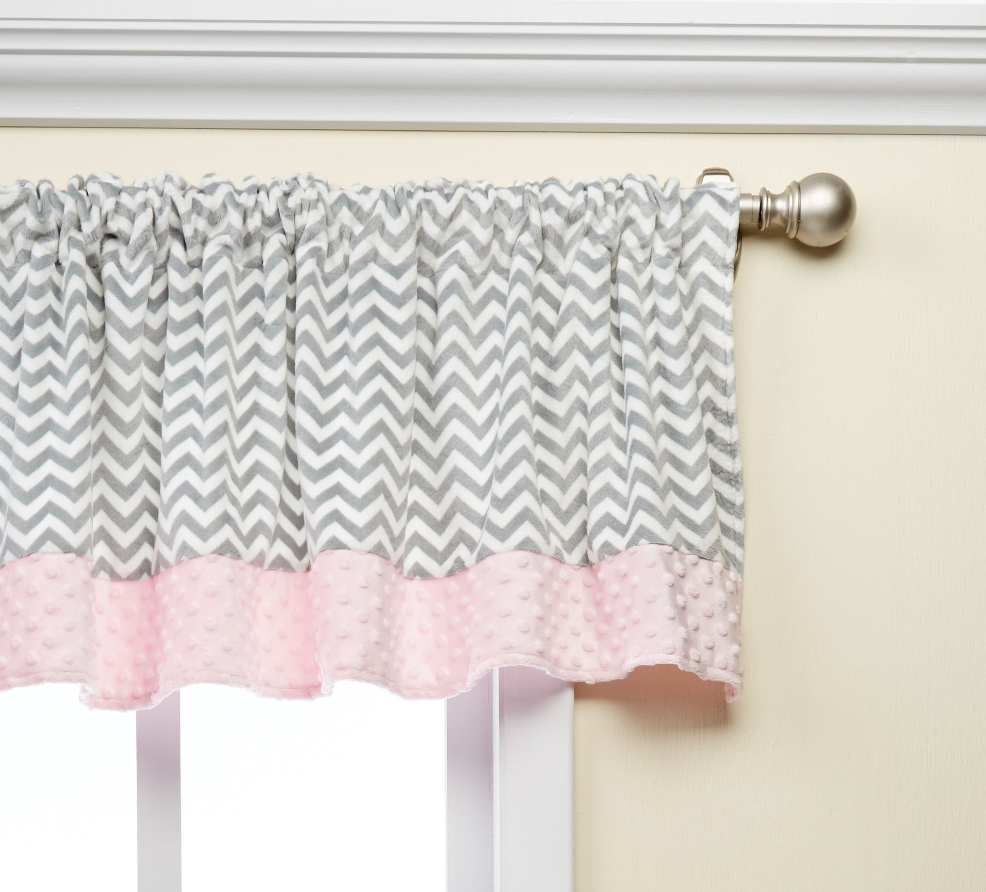 Baby Doll Bedding Minky Chevron Window Valance, Pink by BabyDoll Bedding