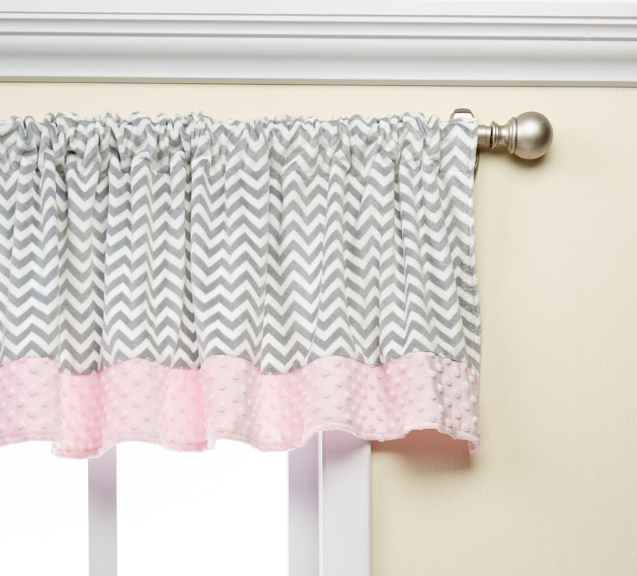 Baby Doll Bedding  Minky Chevron Window Valance, Pink