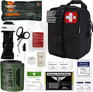 "Everlit Emergency Trauma Kit GEN-I with Aluminum Tourniquet 36"" Splint, Military Combat Tactical IFAK for First Aid Response, Critical Wounds, Gun Shots, Severe Bleeding Control (GEN-1 Black)"