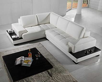 VIG Furniture T71 Modern White Leather Sectional